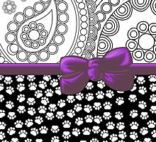 Ribbon, Bow, Dog Paws, Paisley - White Black Purple by sitnica