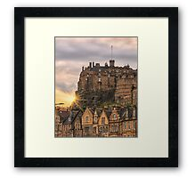 Edinburgh Castle Sunset, Candlemaker Row Framed Print