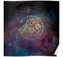 'Gallifrey Falls No More.' in Gallifreyan - Gold (nebula background) Poster