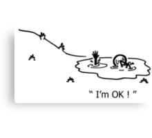 """I'm OK!"" Cycling Crash Cartoon Canvas Print"
