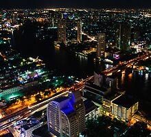 Night view over Bangkok city, Thailand by Stanciuc