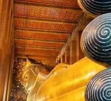 Reclining Buddha gold statue in Wat Pho buddhist temple, Bangkok, Thailand by Stanciuc