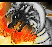 Dragon in fire by superferretIX