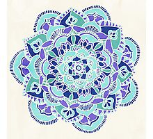 Royal Blue, Teal, Mint & Purple Mandala Flower Photographic Print