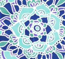 Royal Blue, Teal, Mint & Purple Mandala Flower Sticker