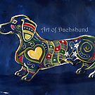 Blue Dachshund Zentangle by dvampyrelestat