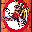 Stained glass panel - Flying duck by Maree  Clarkson