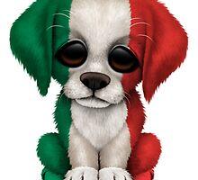 Cute Patriotic Italian Flag Puppy Dog by Jeff Bartels