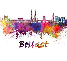 Belfast skyline in watercolor by paulrommer