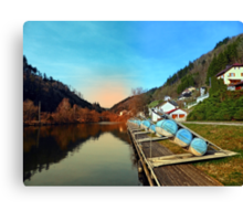 Pontoon landing stages in the harbour | waterscape photography Canvas Print