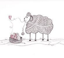 Tangled Spinning Ewe by Christianne Gerstner