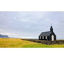 Historic black wooden church in Budir, Iceland Photographic Print
