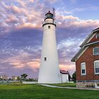 Fort Gratiot Lighthouse and Sarnia, Ontario at sunset by DArthurBrown