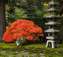 Japanese Maple Tree in Autumn with Pagoda by SillyBoyArtstry
