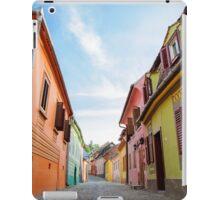Street view in medieval town of Sighisoara, Transylvania,Romania iPad Case/Skin