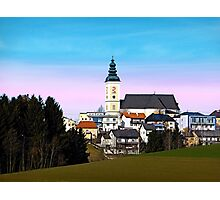 Village skyline with vivid sky | landscape photography Photographic Print