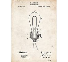 Edison Light Bulb Invention US Patent Art Photographic Print