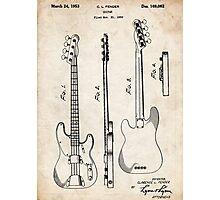 Fender Precision Bass Guitar US Patent Art Photographic Print