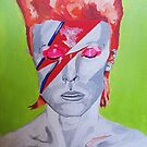 David Bowie acrylic on Canvas Board  by Sarah Horsman