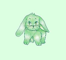 Small Fluffy Green Bunny by ArtsyRosey