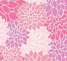 Blooming Dahlia Flowers, Petals - Pink Purple by sitnica