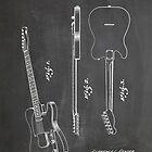 Fender Telecaster Guitar US Patent Art Blackboard by Steve Chambers