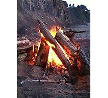 Bonfire at Sunset Beach Photographic Print