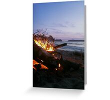 Dying Fire at Sunset Beach Greeting Card