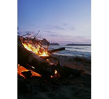 Dying Fire at Sunset Beach Photographic Print