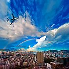 Hong Kong Double Rainbow and Airplane  by MichaelKe