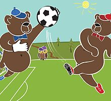 Two brown bears plays football.Cartoon humorous illustration by Tatiakost