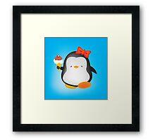 Ice cream penguin Framed Print