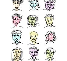 Ink and colour faces by Clara Mendiola