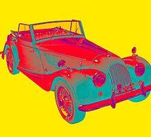 1964 Morgan Plus 4 Convertible Sports Car Pop Art by KWJphotoart