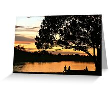 The sunset glows on Puerto Narino, Amazon River Greeting Card