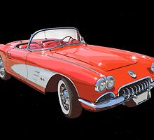 Red And White 1958 Corvette by KWJphotoart
