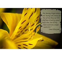 Yellow Flower Macro with Poem by Omar Khayyam Photographic Print