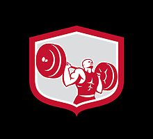 Weightlifter Lifting Barbell Shield Retro by patrimonio