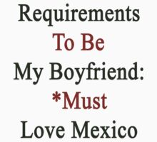 Requirements To Be My Boyfriend: Must Love Mexico by supernova23