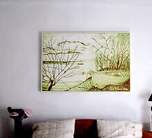 My Pencil Drawing of Danube And A Boat, hanging above our bed in Romania by Dennis Melling