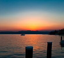 Sunset over Lake Garda by Violaman