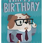 Clever Bulldog Happy Birthday Greetings Card by Claire Stamper