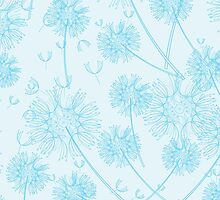 Dandelion Plants, Flower Head - Pale Blue by sitnica