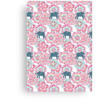 Tiny Elephants in Fields of Flowers Canvas Print