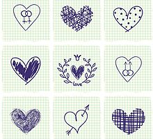 Pen drawn hearts on paper by jentesmiler