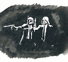 Vader and Fett, ink and watercolor. by wtfiamisaid