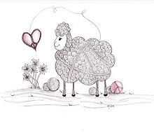 Tangled Peaceful Sheep by Christianne Gerstner
