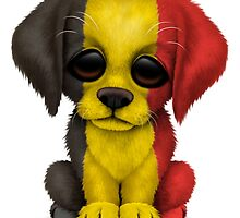 Cute Patriotic Belgian Flag Puppy Dog by Jeff Bartels
