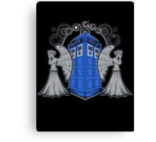 Weeping Angels and the Tardis Canvas Print