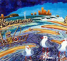 Seagulls, Currumbin by Norval Watson